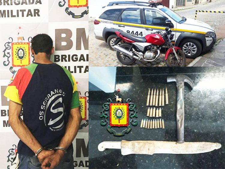 Brigada Militar prendeu foragido que estava de posse de munições