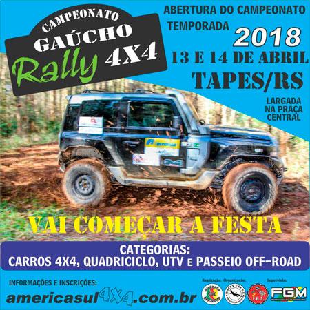 Campeonato Gaúcho Rally 4×4: inscrições abertas para etapa de Tapes