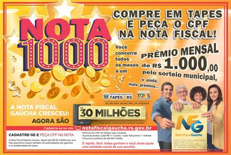Prefeitura de Tapes sorteará R$12 mil reais no Programa Nota Fiscal Gaúcha