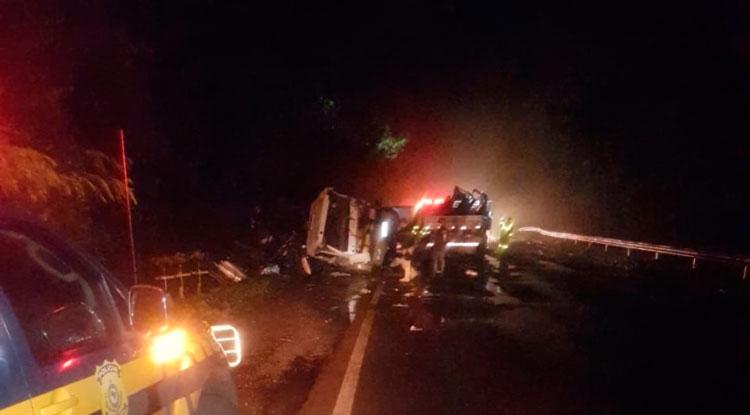Acidente envolveu caminhão com placas de Sentinela do Sul