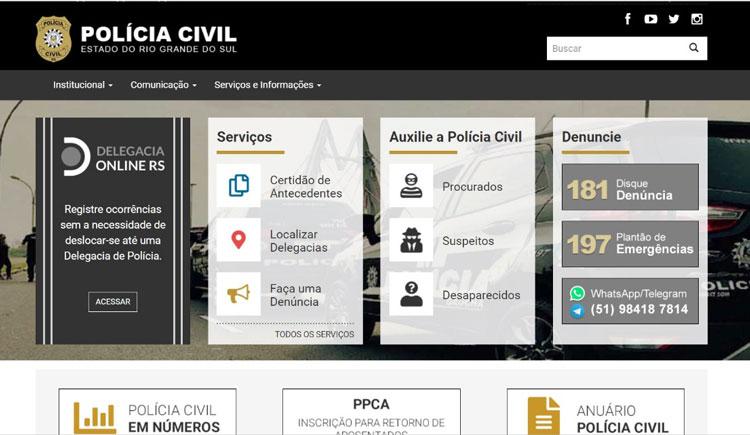 Novo site da Polícia Civil aumenta interação com a comunidade