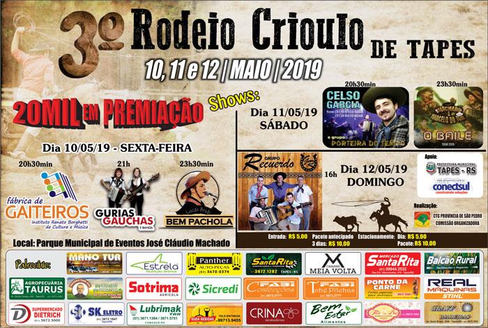 Tapes convida para seu 3º Rodeio Crioulo neste próximo fim de semana