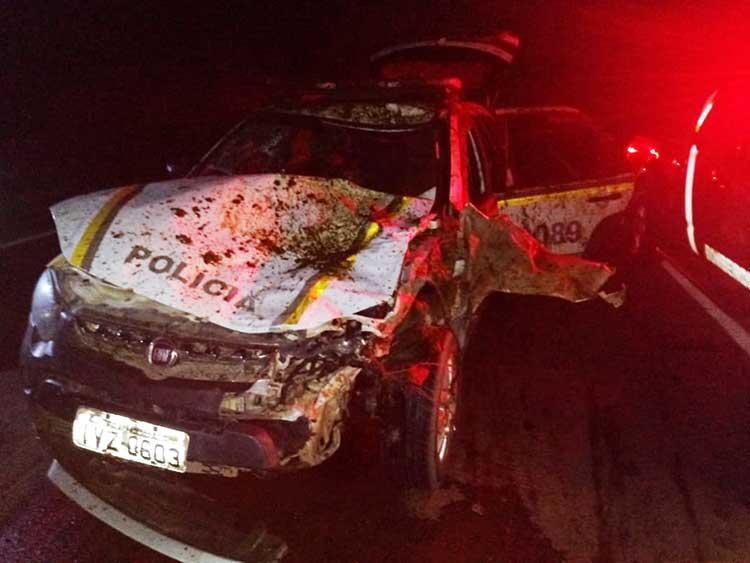 Viatura da BM atropelou cavalos e policiais ficaram feridos em Tapes